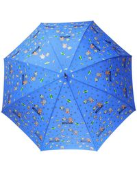 Moschino Printed Umbrella Unisex Blue
