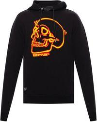 Philipp Plein Skull Motif Hoodie - Black
