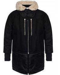 Diesel Black Gold Wool Jacket With Fur Trim - Black