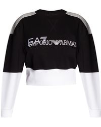 EA7 Cropped Sweatshirt With Logo - Black