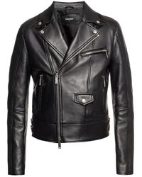 DSquared² Logo Print Biker Jacket - Black