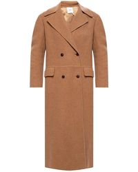 Agnona Double-breasted Coat Beige - Natural