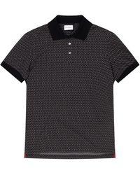Ferragamo Men's Gancini-print Pique Polo Shirt - Black