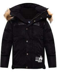 DSquared² Quilted Down Jacket With Hood Black