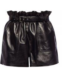 Saint Laurent Leather Shorts - Black