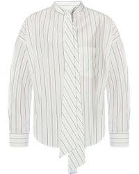 Balenciaga Asymmetrical Shirt With Logo - White
