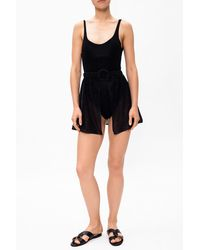 Oséree Semi-sheer Beach Skirt Black