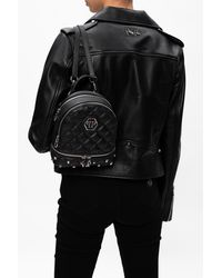 Philipp Plein Quilted Backpack With Logo Black