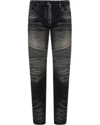 Balmain Jeans With Ribbed Inserts - Black