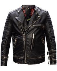 Philipp Plein Biker Jacket With Logo - Black