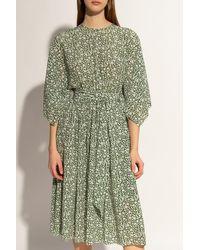 Michael Kors Floral Stretch-cotton Flutter-sleeve Dress - Green