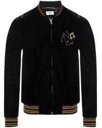 Saint Laurent Velvet Bomber Jacket Black
