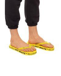 Off-White c/o Virgil Abloh Logo Print Flip Flops - Yellow