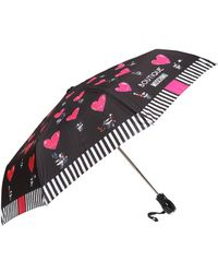 Moschino Patterned Umbrella With Logo - Black