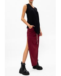 Rick Owens Drkshdw Skirt With Vents Burgundy - Red
