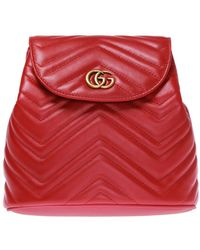 Gucci 'GG Marmont' Quilted Backpack - Red