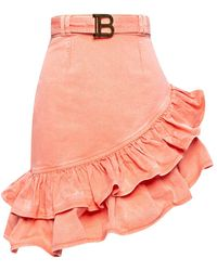 Balmain Asymmetrical Denim Skirt Pink