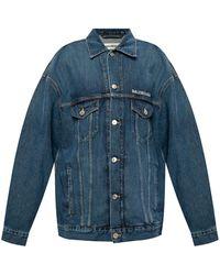 Balenciaga Denim Jacket With Logo - Blue