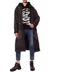 DIESEL Leopard Motif Coat Black