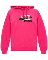 DIESEL Branded Hoodie - Pink