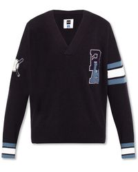 BOSS x Russell Athletic Sweater With Logo Patch - Blue