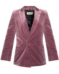 Zadig & Voltaire Blazer With Peak Lapels Purple