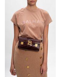 Balmain Branded Belt Bag Burgundy - Multicolour