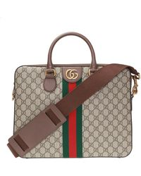 Gucci 'ophidia' Briefcase With Logo - Brown