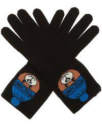 Moschino Logo Gloves - Black