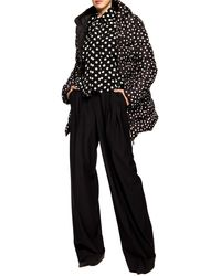 Dolce & Gabbana Fitted Down Jacket With Hood And Polka Dot Print - Black