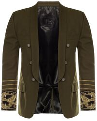 Balmain Embroidered Double-breasted Blazer - Green