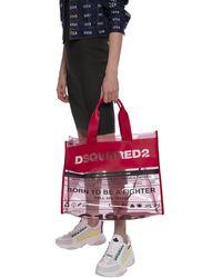 DSquared² Logo Detail Transparent Tote Bag - Red