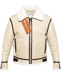 Loewe Shearling Aviator Jacket - White