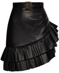 Balmain Asymmetrical Ruffled Skirt Black