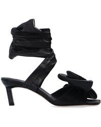 Ganni Tie-up Heeled Sandals - Black