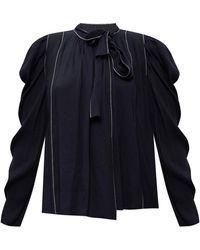 Ulla Johnson 'bonnie' Top With Tie Fastening Navy Blue