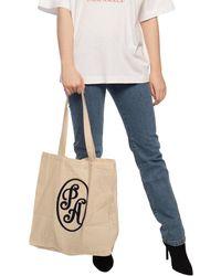 Palm Angels Shopper Bag With Logo - Natural