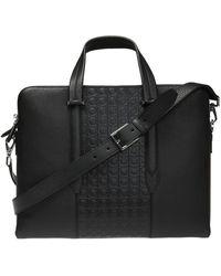 Ferragamo Embossed Briefcase - Black