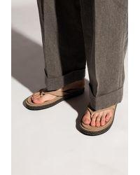 Jacquemus 'les Tatanes Blé' Flip-flops With Logo Beige - Natural