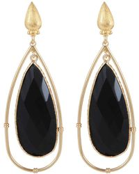 Gas Bijoux 'serti Cage' Gold-plated Earrings - Black