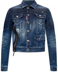 DSquared² Raw Edge Denim Jacket - Blue