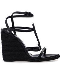 Saint Laurent 'cassandra' Wedge Sandals Black