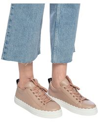 Chloé Lauren Scalloped Edge Leather Trainers - Natural