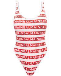 Balmain One-piece Swimsuit With Logo - White