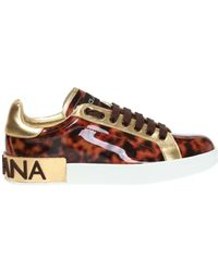 Dolce & Gabbana Mother-of-pearl Portofino Trainers In Patent Leather - Brown