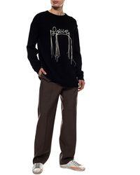 Loewe Logo-stitch Cotton Jumper - Black