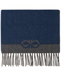 Ferragamo Scarf With Fringes Navy Blue