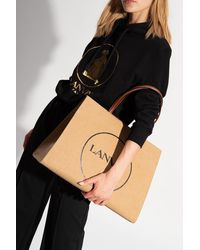 Lanvin Shopper Bag With Logo - Natural
