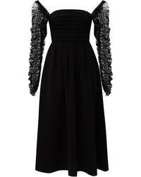 Self-Portrait Long Sleeve Dress Black