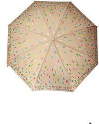 Moschino Umbrella With Logo Unisex Beige - Natural